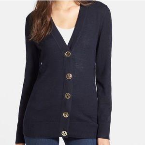 Tory Burch Simone Navy Cardigan Sweater XS ::Z16